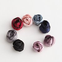 Wholesale 15mm Rosette - Free Shipping 20pcs lot 15mm Handmade Craft Stereoscopic Beautiful Fabric Rosette Flower Shape DIY Baby Girls Headband Hair Accessories