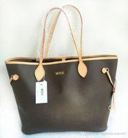 Wholesale Full Purse - Women Classic Never Composite Bag Original Quality Oxidizing Leather Damier Shopping Purse Full GM MM Plaid Print Handbag Tote Bag L302