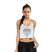 Wholesale Elephant Vest - 2017 New Women's Casual Fashion Elephant Digital Printing Strap Nylon Short Up-navel Crop Top Tank Vest Camisole Bustier