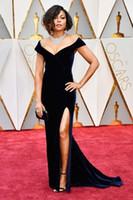 Wholesale Silver One Shoulder Oscar Dress - 2017 Velvet Taraji P. Henson 89th Oscars Mermaid Black Celebrity Evening Dresses Off-Shoulder High Split Long Dress for Prom Party Gowns