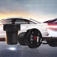 Wholesale 12v Socket Motorcycle - Wholesale-12V Car Motorcycle 3.1A Dual USB Charger Socket Voltage Voltmeter Switch Panel