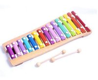 Wholesale Kids Wooden Piano Musical Toys - 15 Scales Wooden Xylophone Hand Knock Piano Children Kids Toy Musical Instrument Deluxe Gift