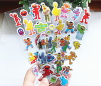 Wholesale Stickers Sheets For Kids - Wholesale- 4 sheets set sesame street 3D stickers for kids Home wall decor on laptop cute Gifts for the children in the party supplies