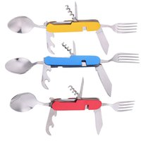 Wholesale Tableware For Camping - Portable Multi-Function Durable 3 in 1 Stainless Steel Folding Spoon Fork Knife Tableware for Outdoor Camping Picnic Travel*1Piece