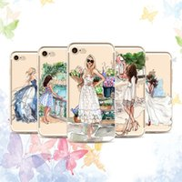 Wholesale Cartoon Girls Phone Case - Fashion girl cartoon TPU painting cell Phone Case For Apple iphone 7 case ultra thin soft silicone back cover shell for iphone 5S 6S 7 Plus