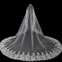 Wholesale Lace Pearl Meter - 3 Meters Ivory One Layer Bride Veils 2017 Tulle Lace Edge Cathedral Wedding Veil Long Bridal Veils Voile Mariage Wedding Accessories