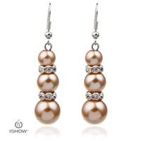 Wholesale Orange Earrings Studs - ABS Earrings Wholesale Resin Imitation Pearls Stud Earring Colorful crystal long eardrop orange blue grey Fashion Jewelry Earrings For Women