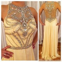 Wholesale Collar Neck Prom Dresses - Elegant Beaded Collar A Line Formal Pageant Evening Dresses Sheer Neck Sparkly Beaded Floor Long Prom Occasion Gowns 2017 Cheap Custom Made