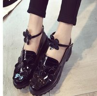 Wholesale black patent thick soled shoes resale online - Age season round head coarse han edition sweet patent leather shoes with thick soles but small leather shoes flower tide flat shoes