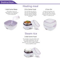 200W 1.0L 220V, 50Hz Multifunctional Mini Rice Cooker Electric Meal Box Thermal Insulation Lunch Box Electric Heating Lunch Box with Steamer