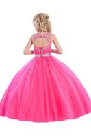 neuer ballkleid hoher kragen großhandel-Neue Exquisite Mädchen Sheer Stehkragen Bodenlangen Ballkleid Party Kleid Customed Größe Blume Mädchen Kleider