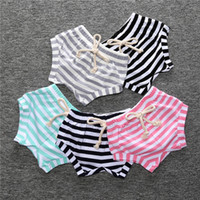 Wholesale Baby Bread Pants - INS Baby shorts 2017 summer new toddler kids cotton stripe shorts boys girls BOW lace-up bread short pants hot sell babies PP pants T1025