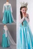 Wholesale Blue Light Themes - Snow And Ice Colors Theme Elsa Dresses A-Line Jewel Long Sleeve Poet Sweep Train Crepe Ruffle Dresses