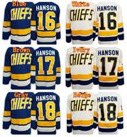 Wholesale Cheap Shoot - Cheap Hanson Brothers Charlestown Slap Shot Movie Hockey Jerseys 16 Jack Hanson 17 Steve Hanson 18 Jeff Hanson Ice Jersey Blue White Color