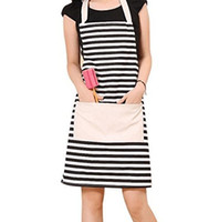 Wholesale Cotton Canvas Women s Apron with Convenient Pocket Durable Stripe Kitchen and Cooking Apron