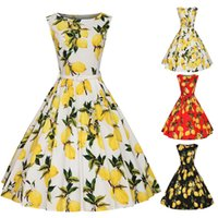 Wholesale Pinup Floral Dress - Women Summer 1950s Floral Swing Vintage Sleevless Retro Prom Ball Housewife Pinup Cotton Blend Casual Rockabilly Evening Party Dress
