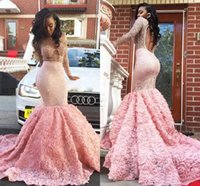 Wholesale Trumpet Shaped Prom Dresses - 2017 Pink Evening Dresses Jewel Long Sleeves Mermaid Style Pageant Gowns Open Back With Rose Shape Ruffles Custom Made Prom Dresses