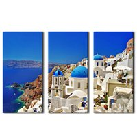 Wholesale villa paintings - 3 Picture Canvas Paintings Aegean Sea Seaside Villa Paintings Printed On Canvas with Wooden Framed For Home Wall Decor Ready to Hang Gifts