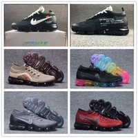 Wholesale Off Black Weave - with box+Best quality 2018 Be True VAPORMAX OFF WHITE X Rainbow Gold Retro Men's Sports Running Shoes Airs Outdoor Weave Sneakers 40-46