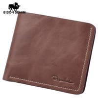 Wholesale First Coins - Wholesale- BISON DENIM Thin wallet men short wallets business casual first layer leather wallet business wallet high quality purse card