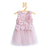 ingrosso vestiti da partito caldi del bambino di colore rosa-Vendita al dettaglio Vendita calda estate fiore rosa Abbigliamento per bambini Princess dress Green 3 anni neonate abiti da festa
