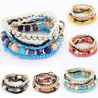 Wholesale Elastic Bracelet Beads - 2017 Bohemian Summer Jewelry MutiLayer Beads Bracelets & Bangles for Women Elastic Strand Pulseras Mujer Femme Bijouterie