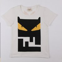 Wholesale Fashionable Boys Clothes - Summer Children Clothing Boys Round Collar High Quality White Little Demon Face Short Sleeve Soft T-shirt Fashionable Handsome Leisure