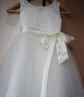 Wholesale Glitz Girl Pageant Wear - 201 White Ivory Flower Girl Dress Kids Ball Gowns First Communion Dresses Pageant Girls Glitz Scoop Sleeveless Leg length Tulle
