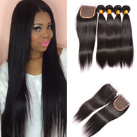 Wholesale Indian Hair Stock Price - Large Stock Factory Price Straight Human Hair Extensions Virgin Hair Bundles And Lace Closure Indian Malaysian Peruvian Human Hair Bundles