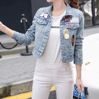 Wholesale Women S Short Coats - Wholesale- S-3XL 2017 Spring Autumn Coat Ladies Vintage Short Embroidered Denim Jacket Female Loose Oversize Jeans Jackets For Women