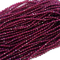 """Wholesale Red Garnet Stone - Natural Genuine AAA High Quality Red Garnet Hand Cut Faceted Round Loose Small Beads 3mm 4mm 15"""" 04308-G"""