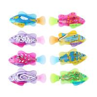 parlayan oyuncak çizgi film toptan satış-Bebek Robofish Banyo Oyuncak çocuklar karikatür LED Parlayan Yüzme oyuncaklar çocuk Duş oyuncaklar C2453