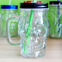 Wholesale Wholesale Cold Cuts - Transparent Wine Glass Cold Drink Custom Skull Mugs With Handgrip Pudding Milk Cocktail Glass Cups With Straw Transparent Mugs
