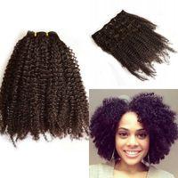 peru saçlı siyah kadınlar toptan satış-Perulu Saç Afro Kinky Kıvırcık Klip Siyah Kadınlar için Insan Saç Uzatma 7 Adet / takım FDSHINE SAÇ