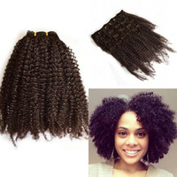 Wholesale Brown Brazilian Afro Hair - Peruvian Hair Afro Kinky Curly Clip In Human Hair Extension for Black Women 7 Pcs set FDSHINE HAIR