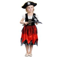 Wholesale Caribbean Fashions - Fashion new kids Cosplay clothing Pirates of the Caribbean Performance clothing children's day Dancewear girls pirates dress A0772