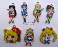Wholesale Slide Enamel - Mixed New 50 pcs Japanese anime Sailor Moon Enamel Metal Charms Jewelry Making Pendants Charms AT79