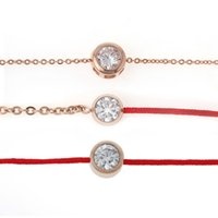 Wholesale Lucky Red Bangle - Wholesale-8SEASONS Titanium steel Cubic Zirconia rose gold plated link chain lucky red line bracelets & bangles fashion gift Rhinestone