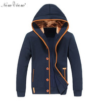 Wholesale Jacket Patches Elbows - Wholesale-2016 Spring Autumn Winter Fashion Men Fleece Elbow Patch Hooded Single Breasted Hoodies Men Casual Sweatshirt Jacket Tracksuit