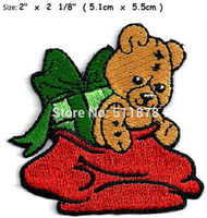 Wholesale Teddy Film - Christmas Teddy in Christmas Bag TV MOVIE Film Series EMBROIDERED Uniform punk rockabilly applique costume iron on patch