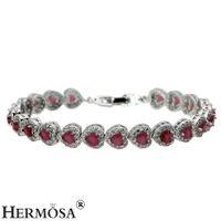 Wholesale Hermosa Sterling Silver - Links Bracelet For Women Love Heart Sterling Silver Hermosa Jewelry Gemstone Emerald Topaz Ruby Garnet Beautiful Chain 7 Inch