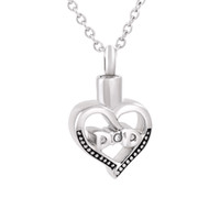 Wholesale dad urn necklace resale online - IJD9850 Hollow Heart Cremation Urn Necklace Human Ashes Memorial Ash Keepsake Pendant Necklace Funeral Jewelry with Crystal for dad