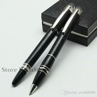 Wholesale Fashion School Supplies - Luxury black resin roller ball-point pen monte pen fashion stationery school office supplies writing brand pen