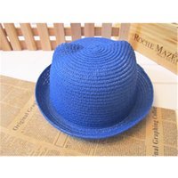 Wholesale Sun Hats For Baby Straw - Fashion Kids Cat Ear Straw Bucket Hat Summer Childen Cute Animal Cap Stylish Baby Outdoor Sun Protection Hats For Boys And Girls