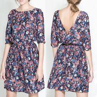 Wholesale Plus Size Tropical Dresses - Wholesale- New 2016 Fashion Women Summer Tropical Dress Floral Print Vestidos Half Sleeve Casual Dresses Women Plus Size Free Shipping