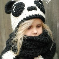 Wholesale Crochet Designs For Kids - 2016 New Design Panda Ear Winter Windproof Baby Hats And Scarf Set For Kids Boys Girls One Piece free shipping