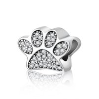 Wholesale 925 Sterling Silver Clear Cubic Zirconia Paw Print Animal Charm Fit Original Pandora Bracelet Charm Bead DIY Accessories Jewelry