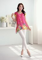 Wholesale Blouse Necklace - fashion women Chiffon tops floral printed Lady Casual blouse Short Sleeve Plus size Shirt O-neck include necklace M--XXXXL