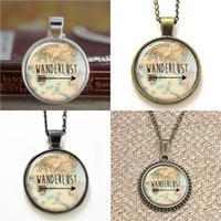 Wholesale Necklace Photo Vintage - 10pcs Wanderlust Vintage Map Glass Photo Necklace keyring bookmark cufflink earring bracelet