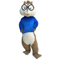 Wholesale squirrel mascot adult costume - Blue Clothes Squirrel Adult Mascot Costume Fancy Birthday Party Dress Halloween Carnivals Costumes With High Quality